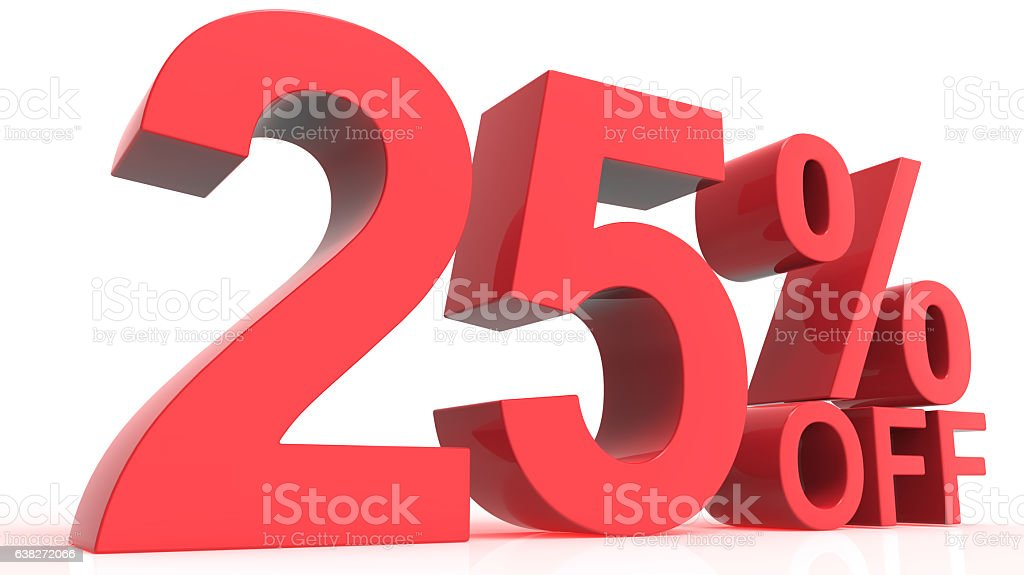 Discount Off 25 Percent stock photo
