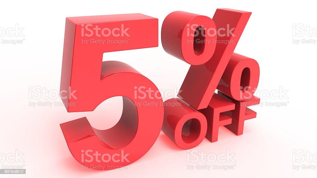 Discount Off 5 Percent stock photo