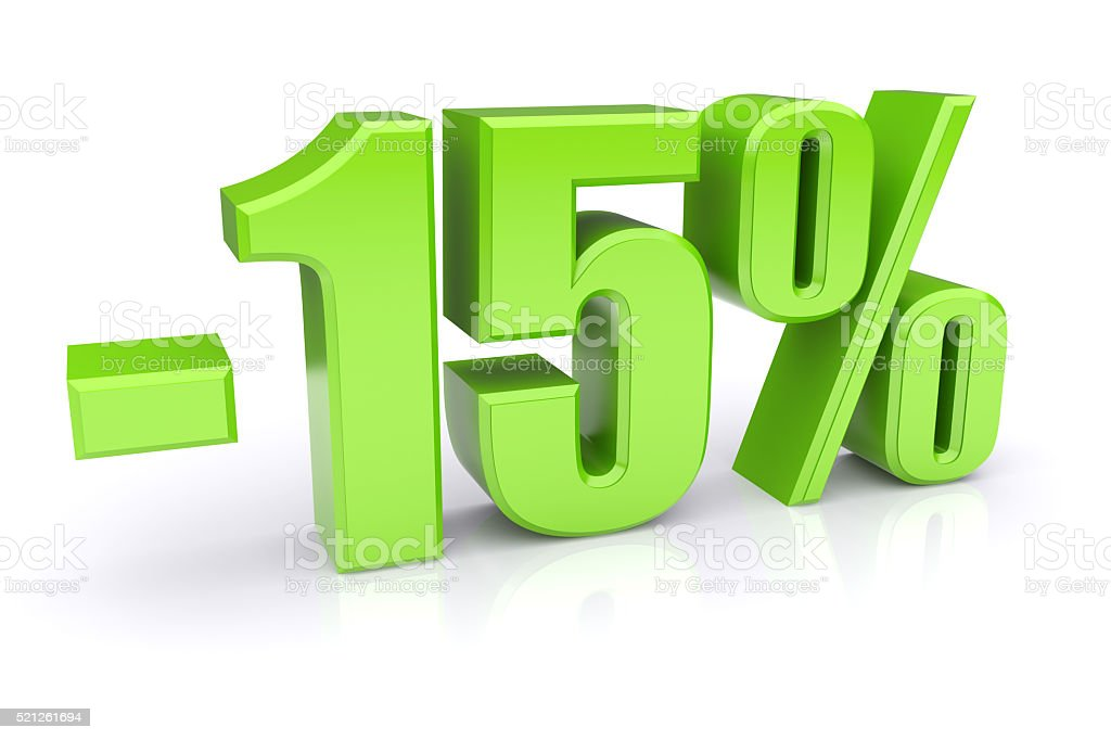 15% discount on a white stock photo