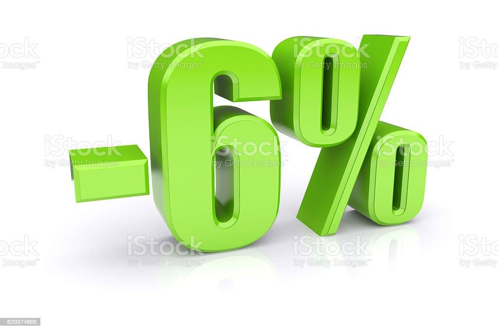 6% discount on a white stock photo
