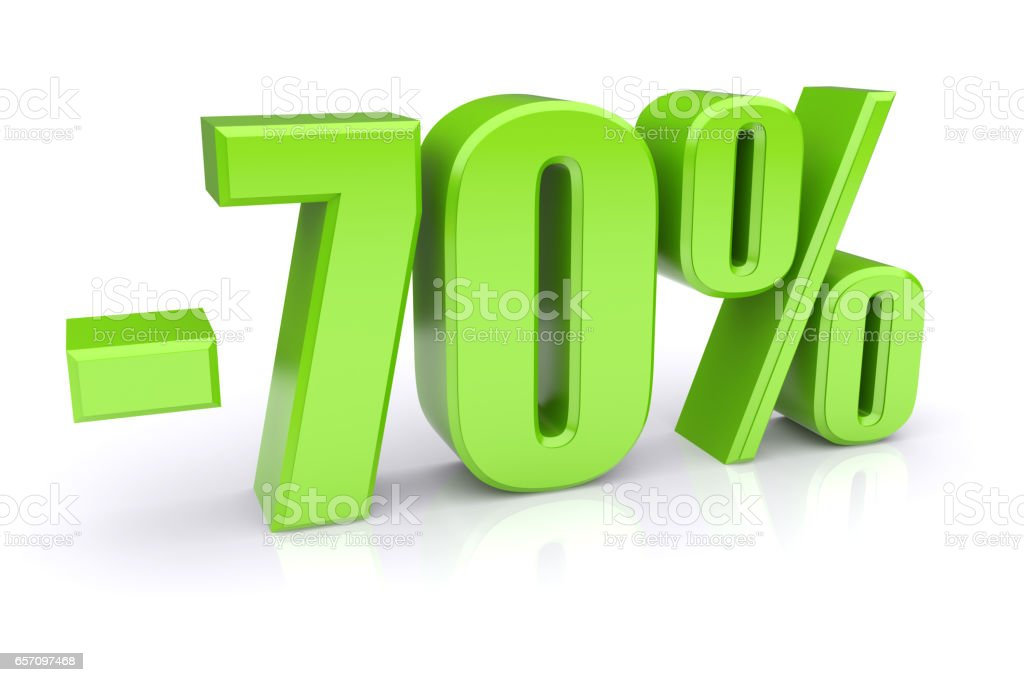 70% discount on a white stock photo