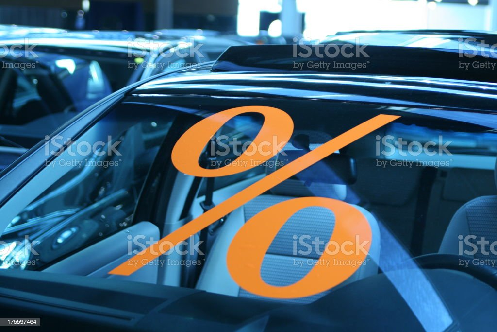 Discount on cars stock photo