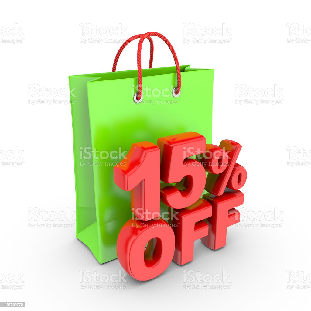 Discount on purchase of 15 percent. royalty-free stock vector art