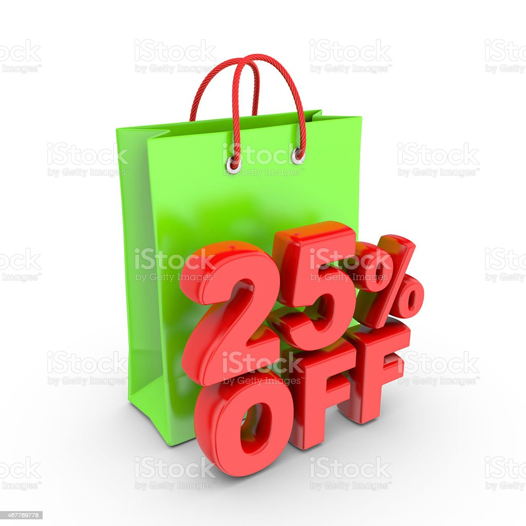 Discount on purchase of 25 percent. royalty-free stock vector art