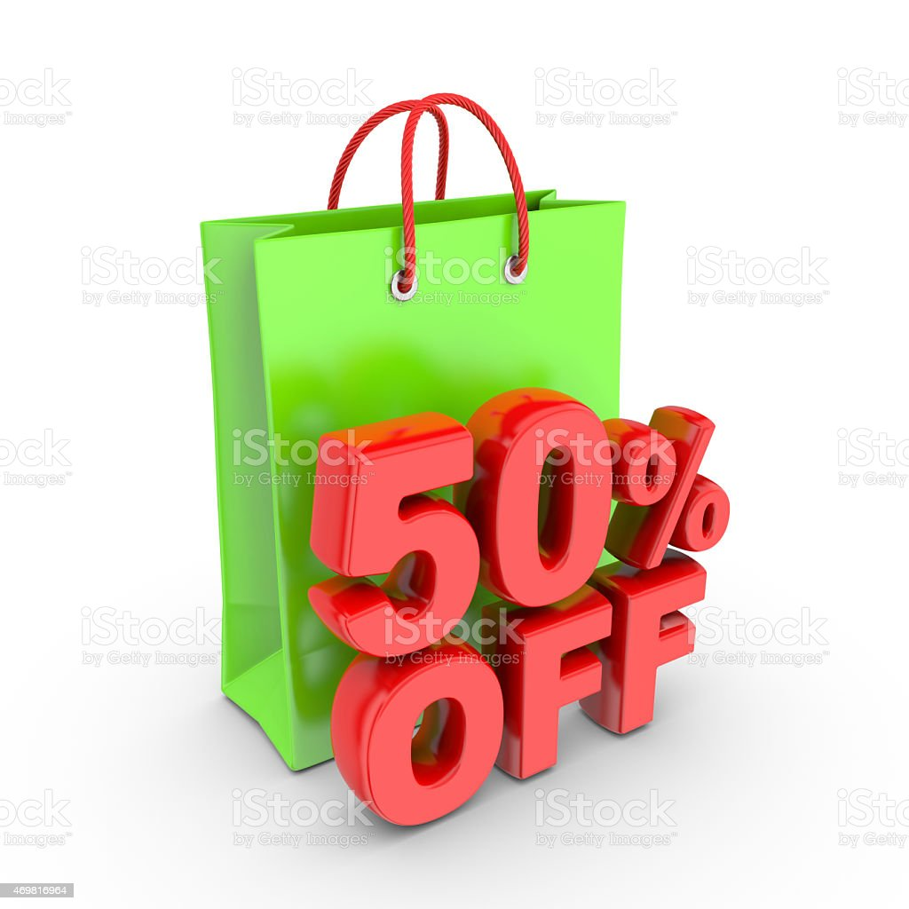 Discount on purchase of fifty percent. stock photo