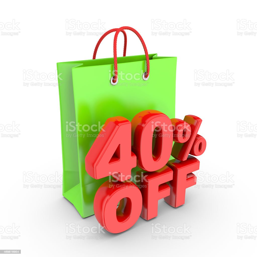 Discount on purchase of forty percent. royalty-free stock photo