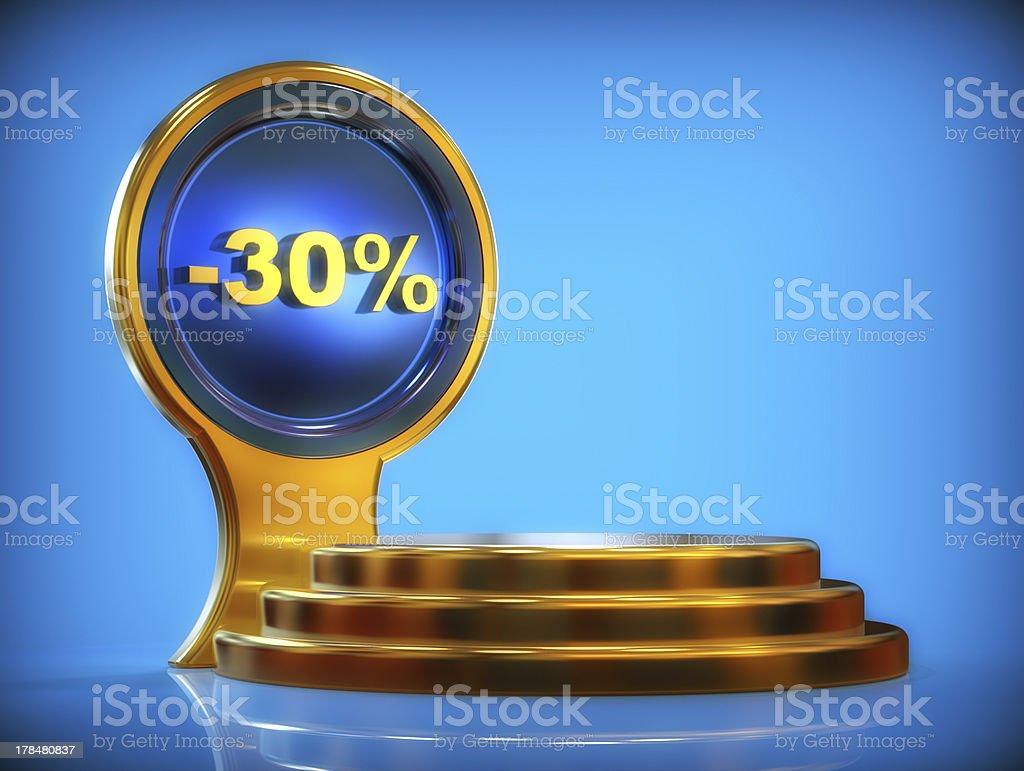 Discount pedestal -30% royalty-free stock photo