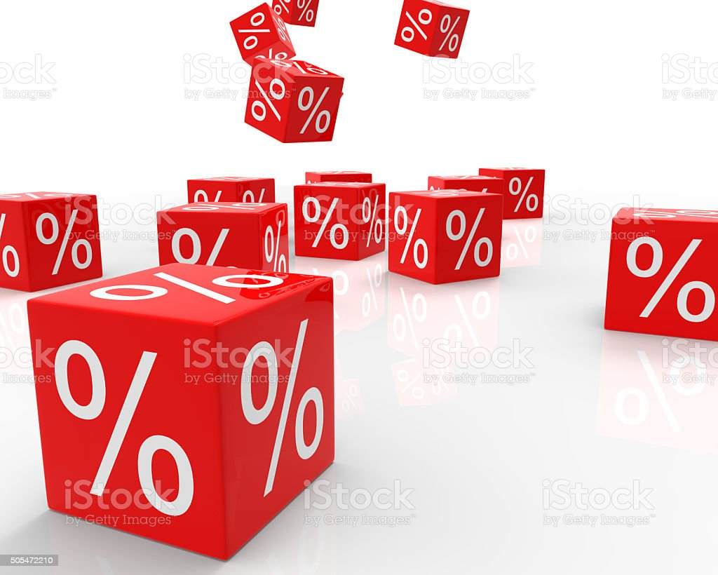 Discount Percentage Cube stock photo