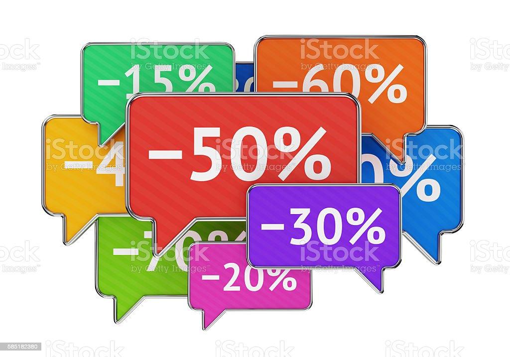Discount percents in speech bubbles stock photo