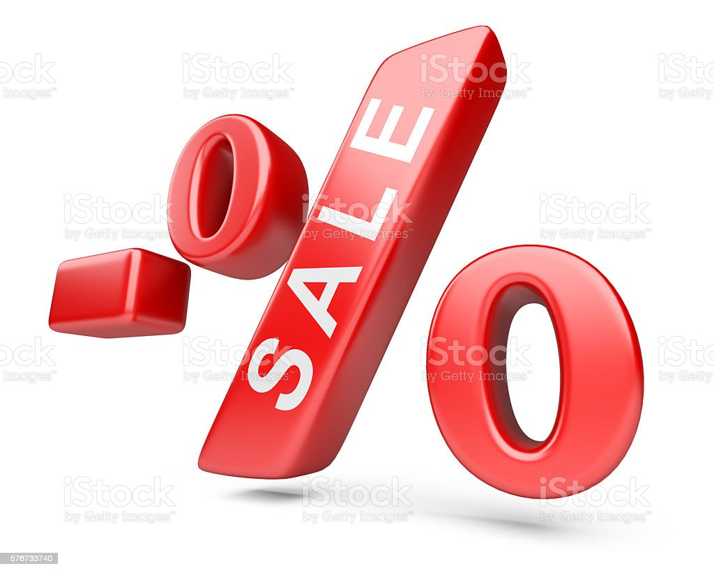Discount red percent isolated on a withe background. stock photo