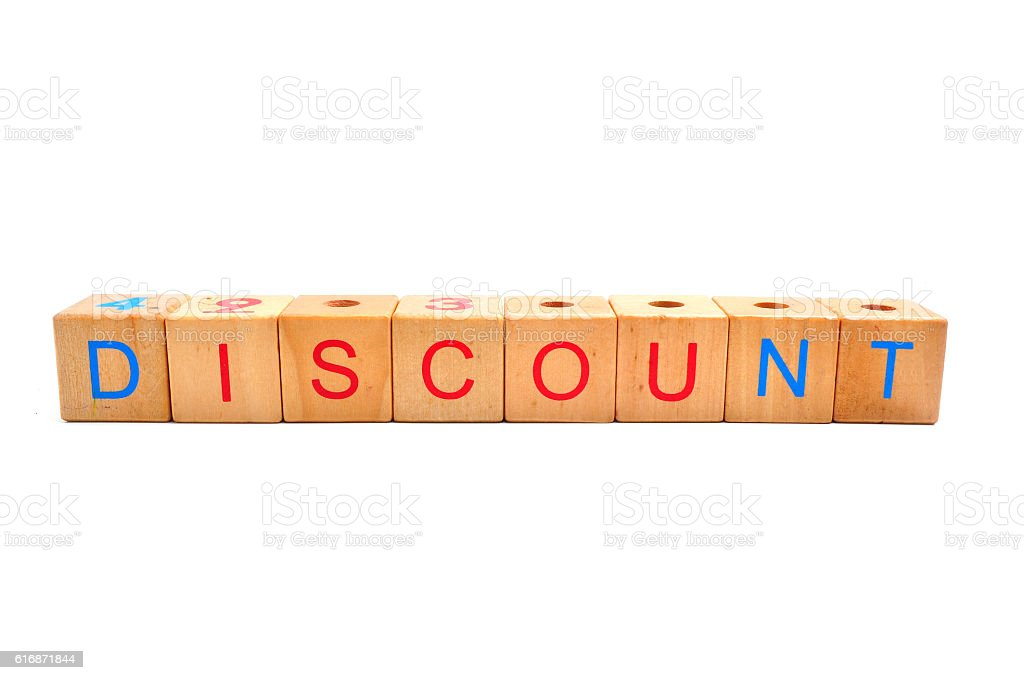 Discount - text in wooden cubes, business shopping concept words stock photo