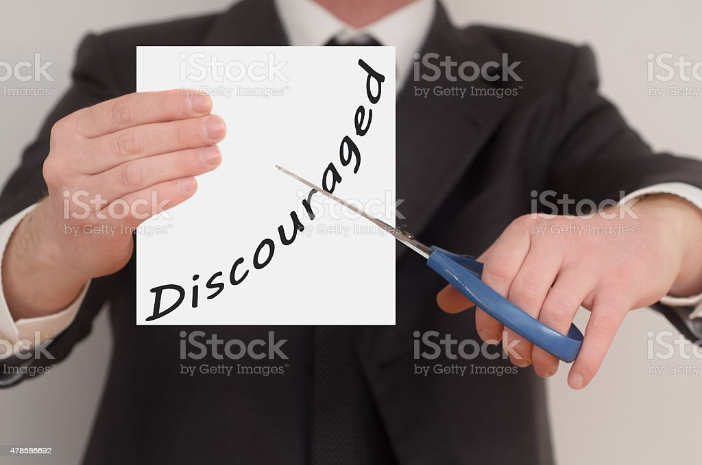 Discouraged, determined man healing bad emotions stock photo