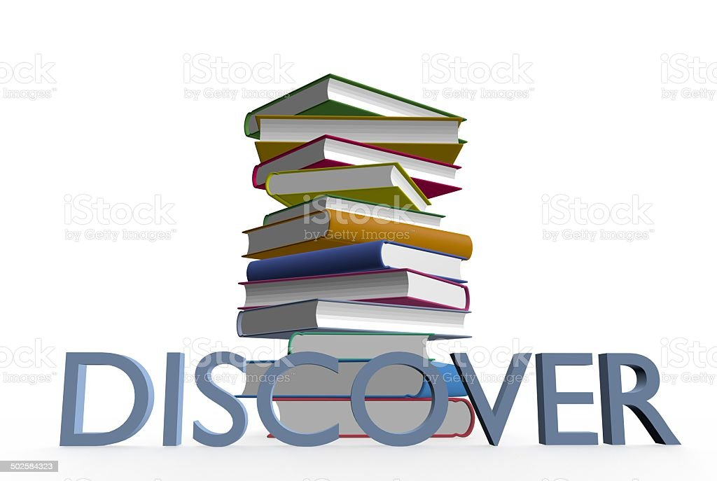 Discover books royalty-free stock photo