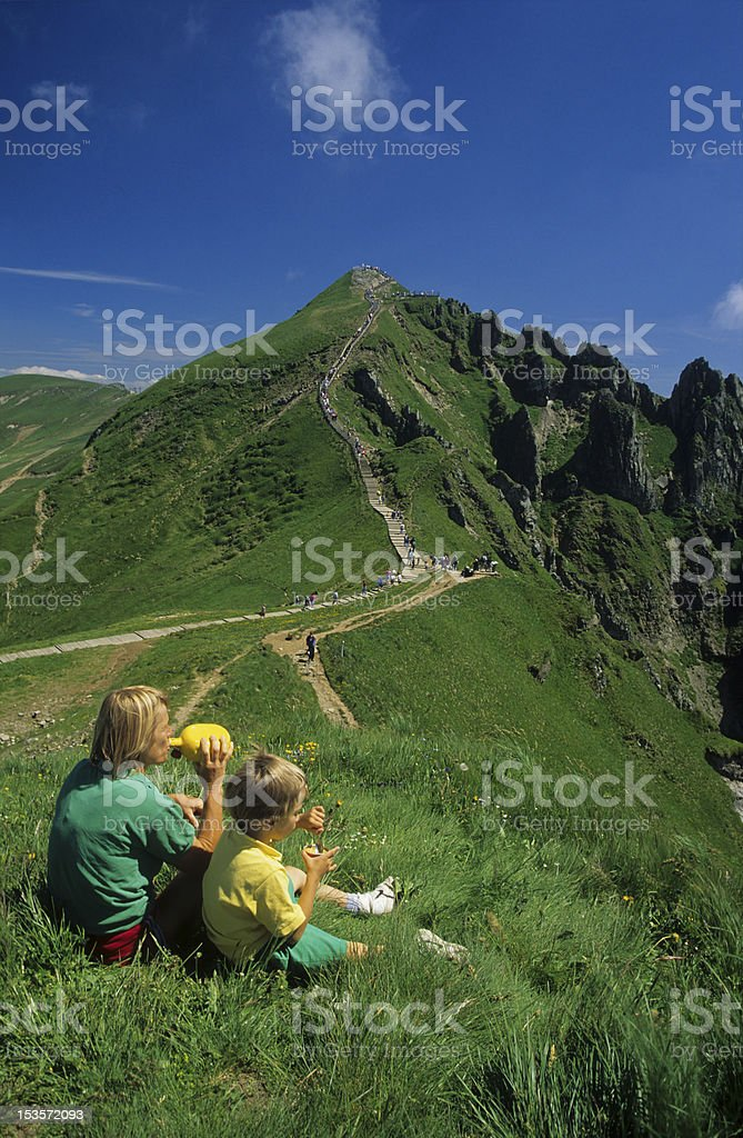 Discover the mountains stock photo