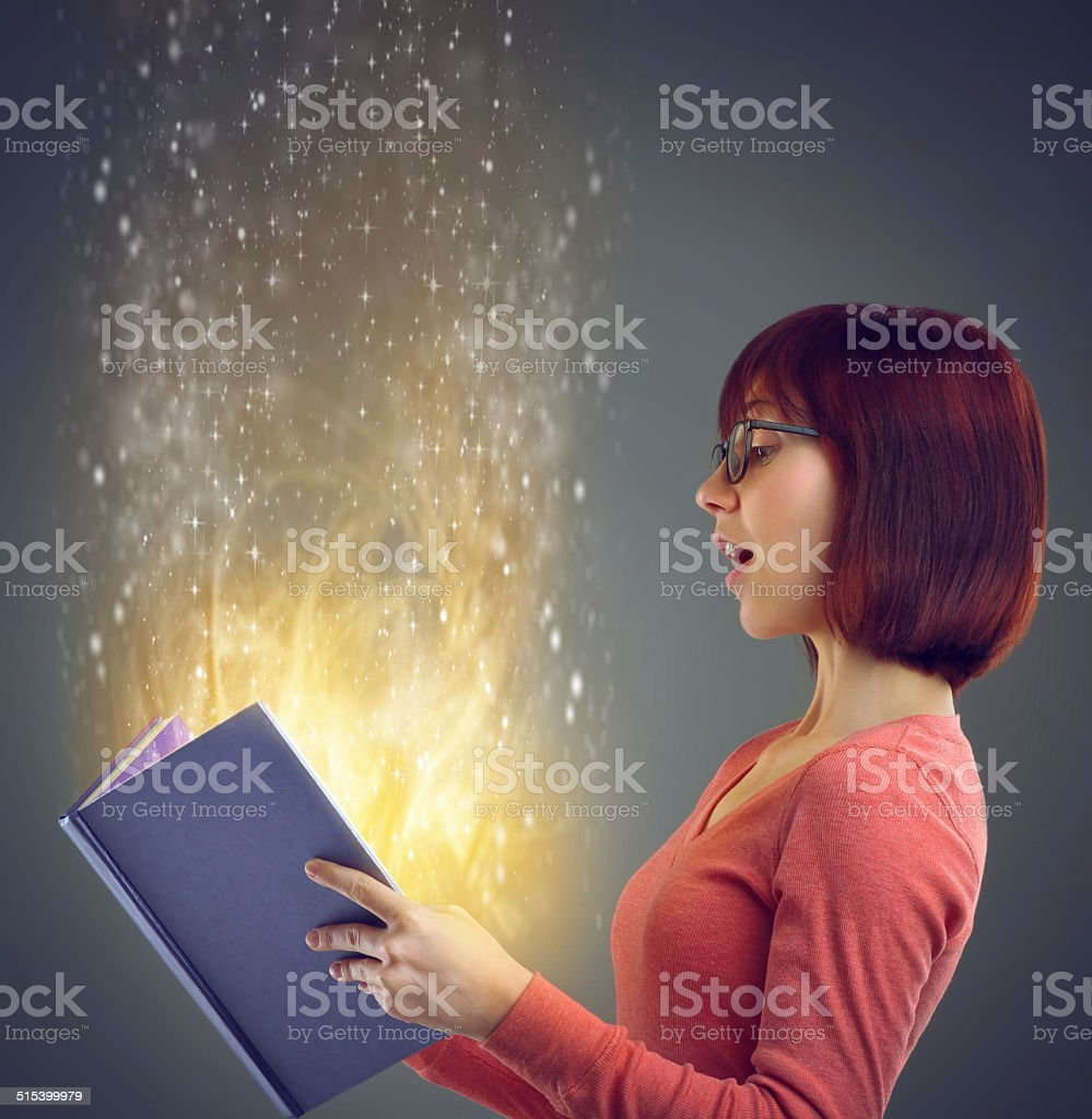Discovering a world of magic stock photo