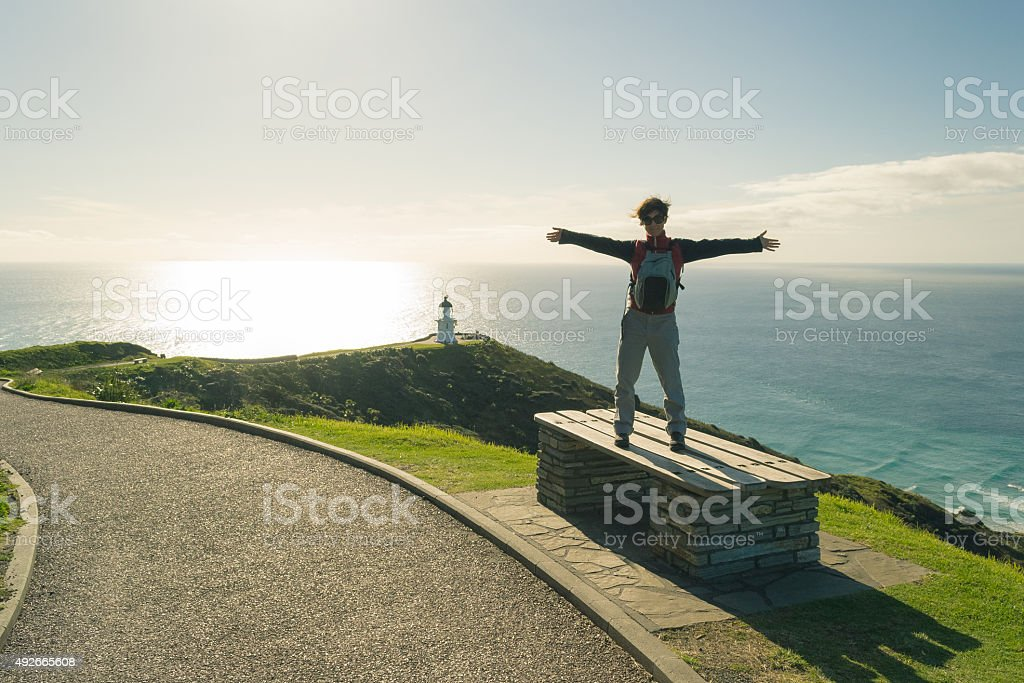 Discovering Cape Reinga in winter stock photo