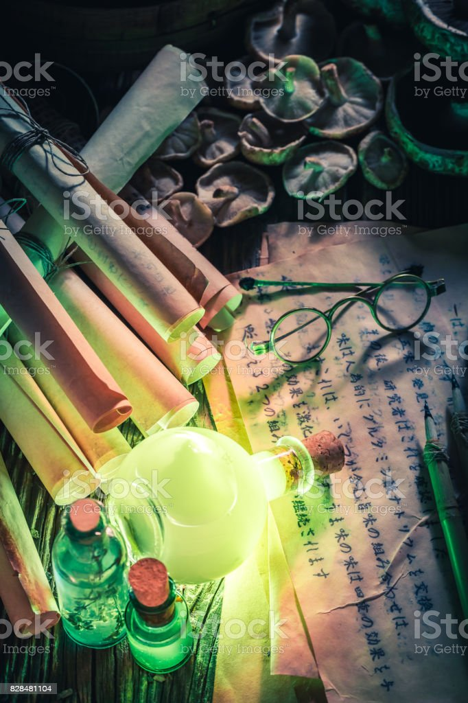 Discovering fifth taste in magical alchemist laboratory stock photo