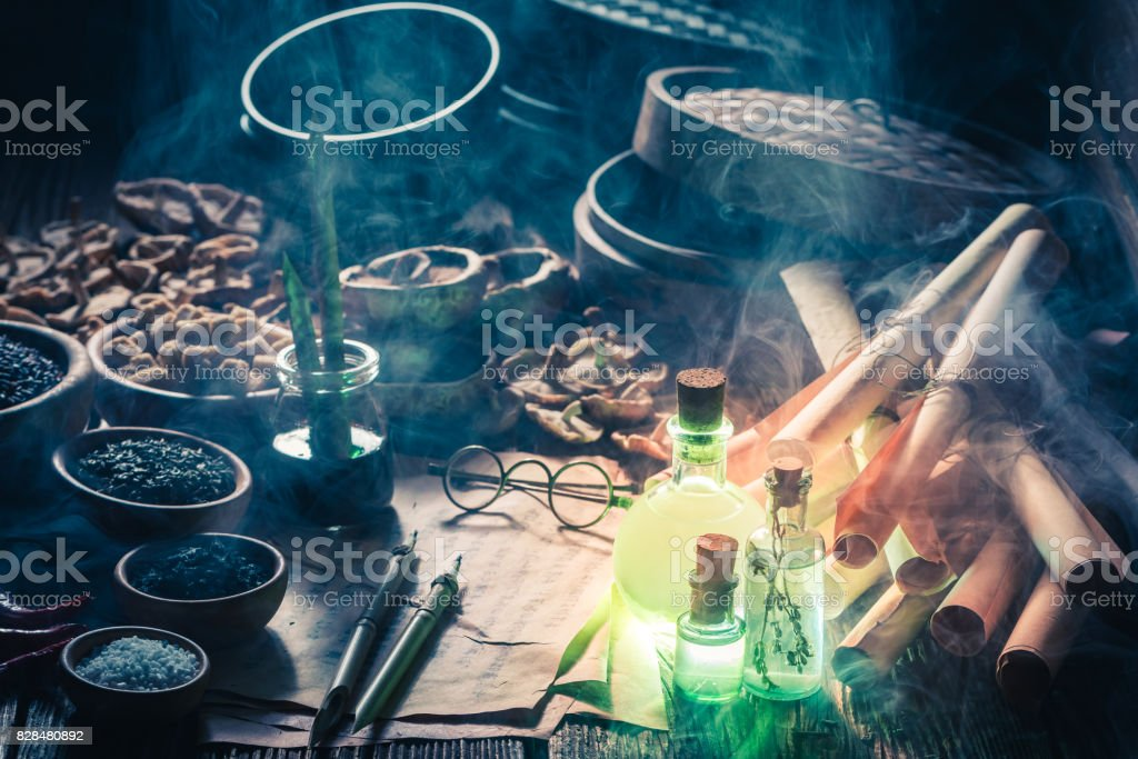 Discovering fifth taste in magical kitchen laboratory stock photo