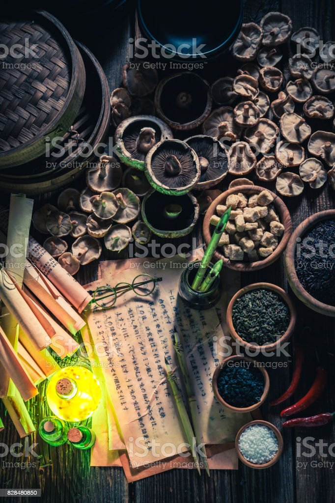 Discovering fifth taste in vintage research lab stock photo