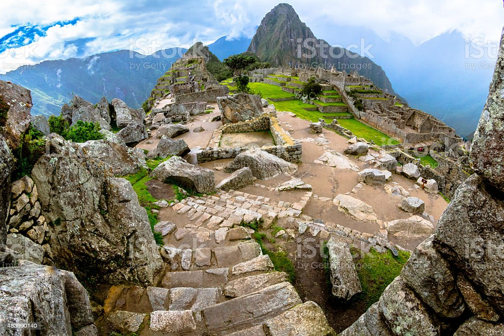 Discovering Machu Picchu stock photo