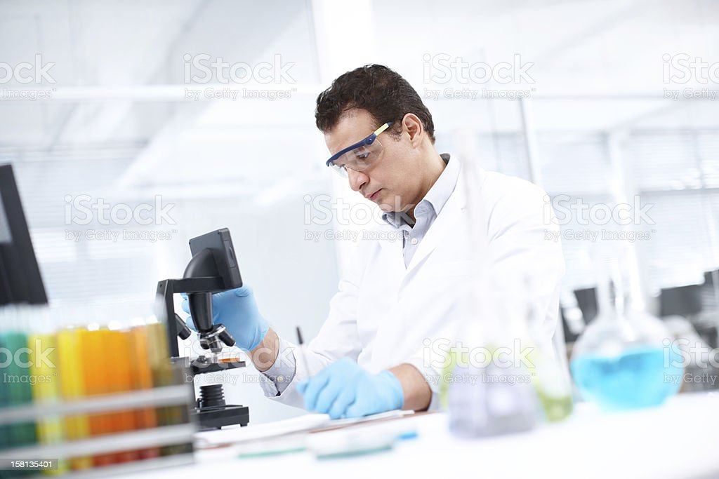 Discovering the answer underneath a microscope royalty-free stock photo