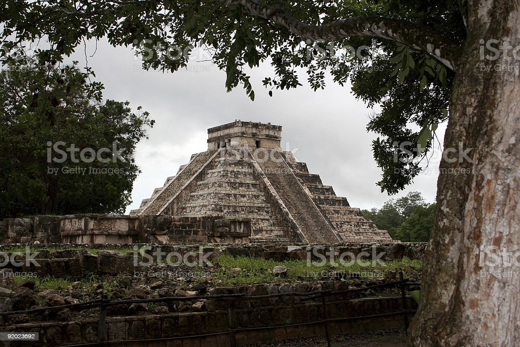 Discovering the Mayan Pyramid at Chichen Itza, Mexico stock photo