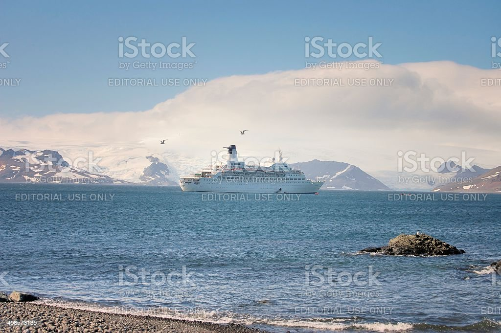 MV Discovery Offloading Tourist In Antarctica stock photo