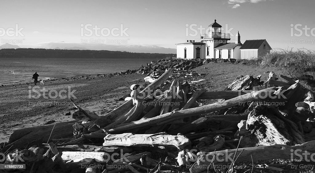 Discovery Park West Point Lighthouse Puget Sound Seattle Nautical stock photo