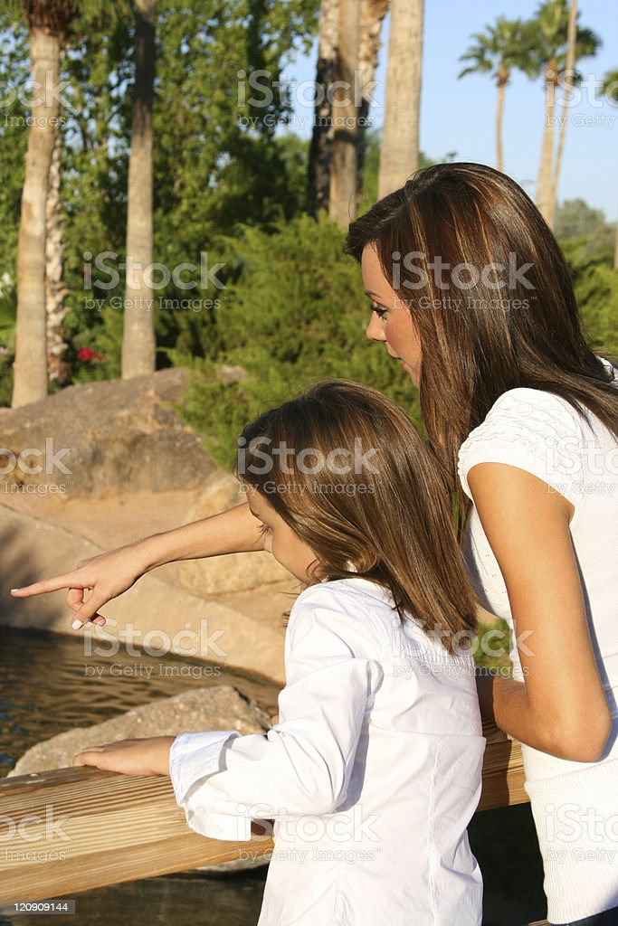 Two sisters standing on a bridge. The older sister is pointing...