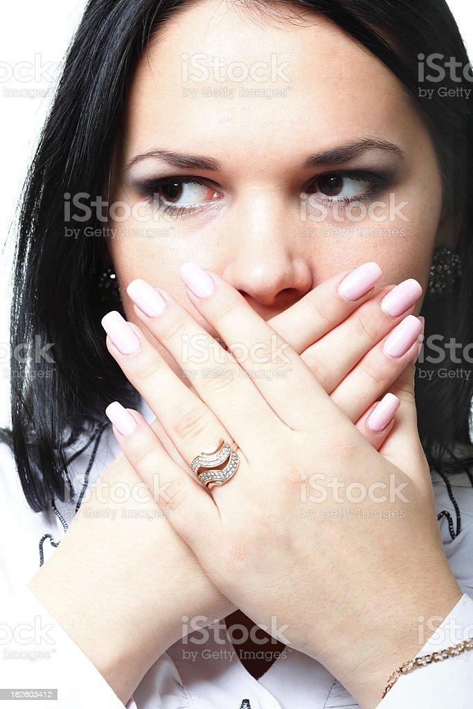 discreet awkward meaningful silence pretty woman royalty-free stock photo