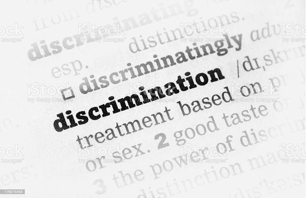 Discrimination  Dictionary Definition stock photo