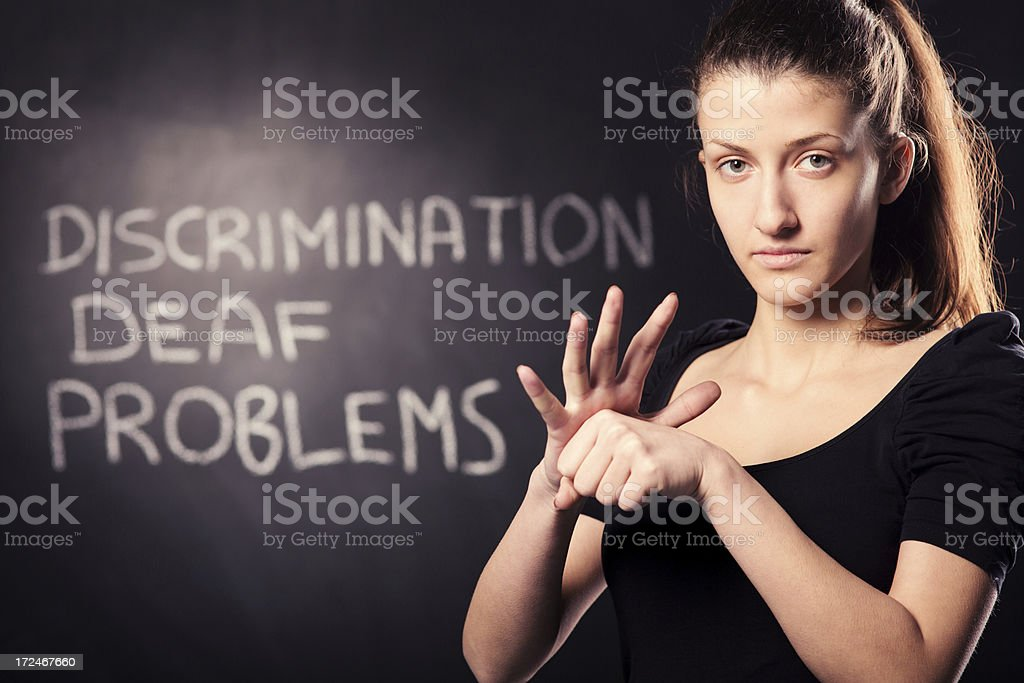Discrimination hand sign royalty-free stock photo