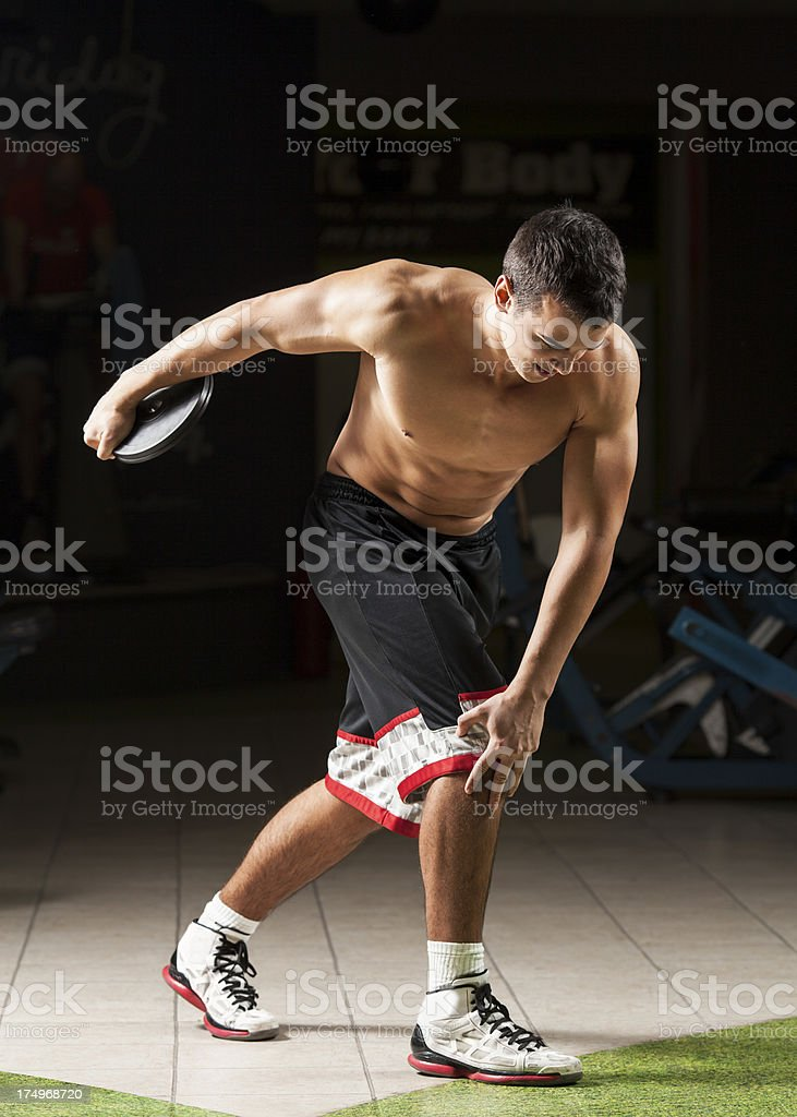 Discus throwing stock photo