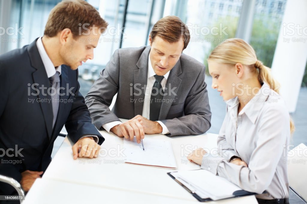Discussing a project royalty-free stock photo
