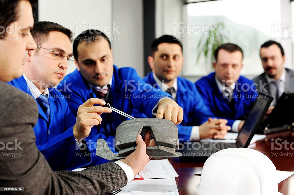 Discussing about product improvement stock photo