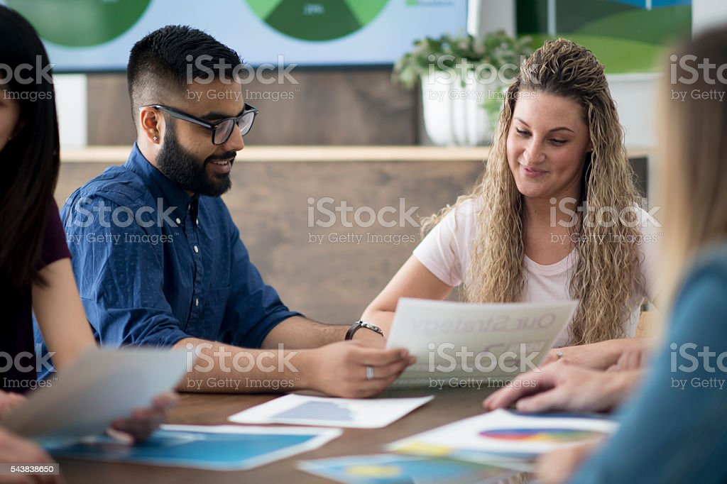 Discussing Alternative Energy Options stock photo