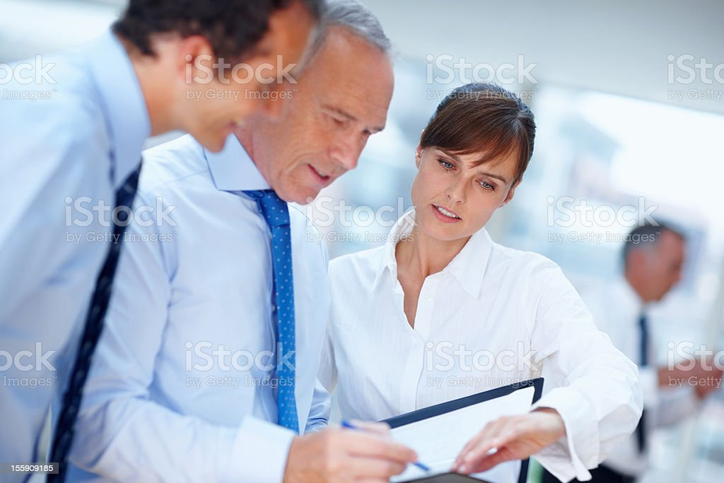 Discussing business contract royalty-free stock photo