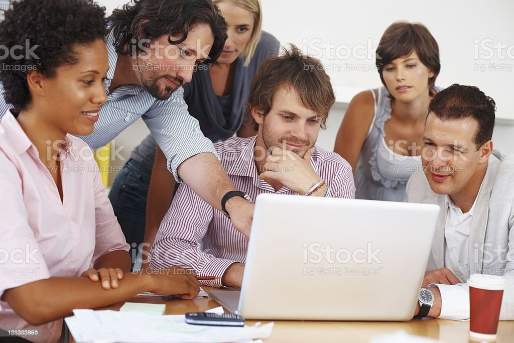 Discussing business plan royalty-free stock photo