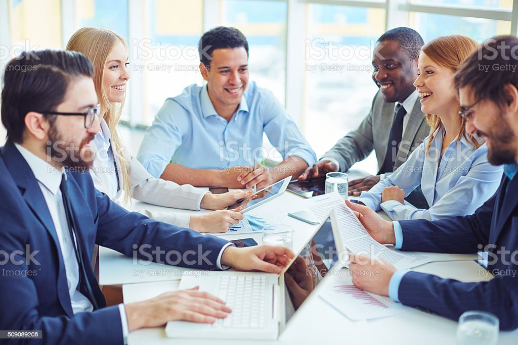 Discussing business plans stock photo