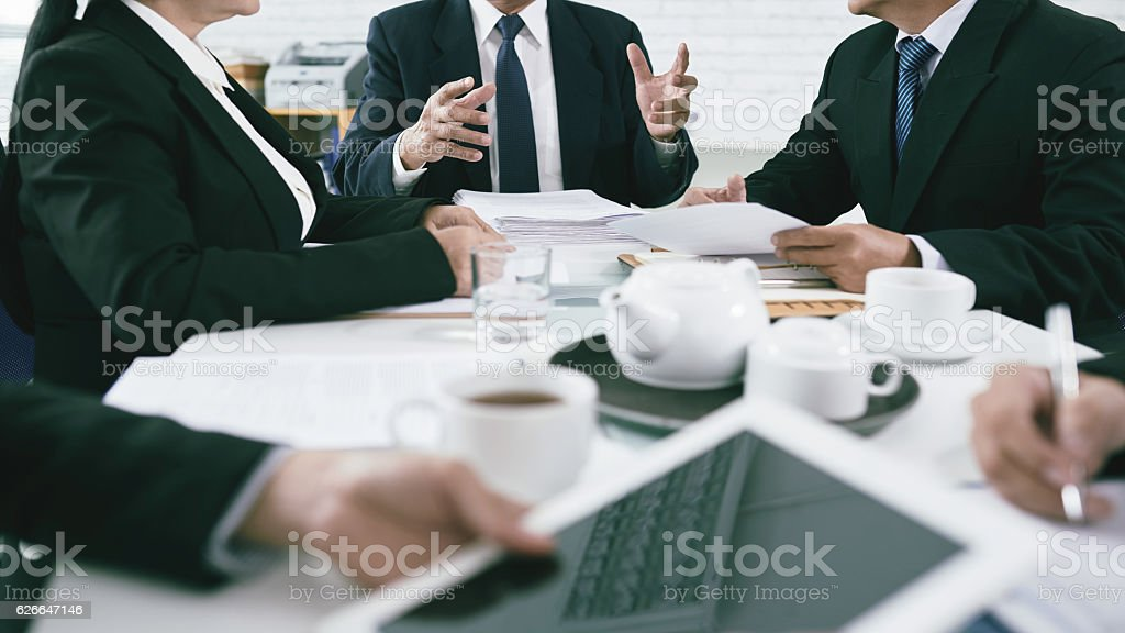Discussing cases stock photo