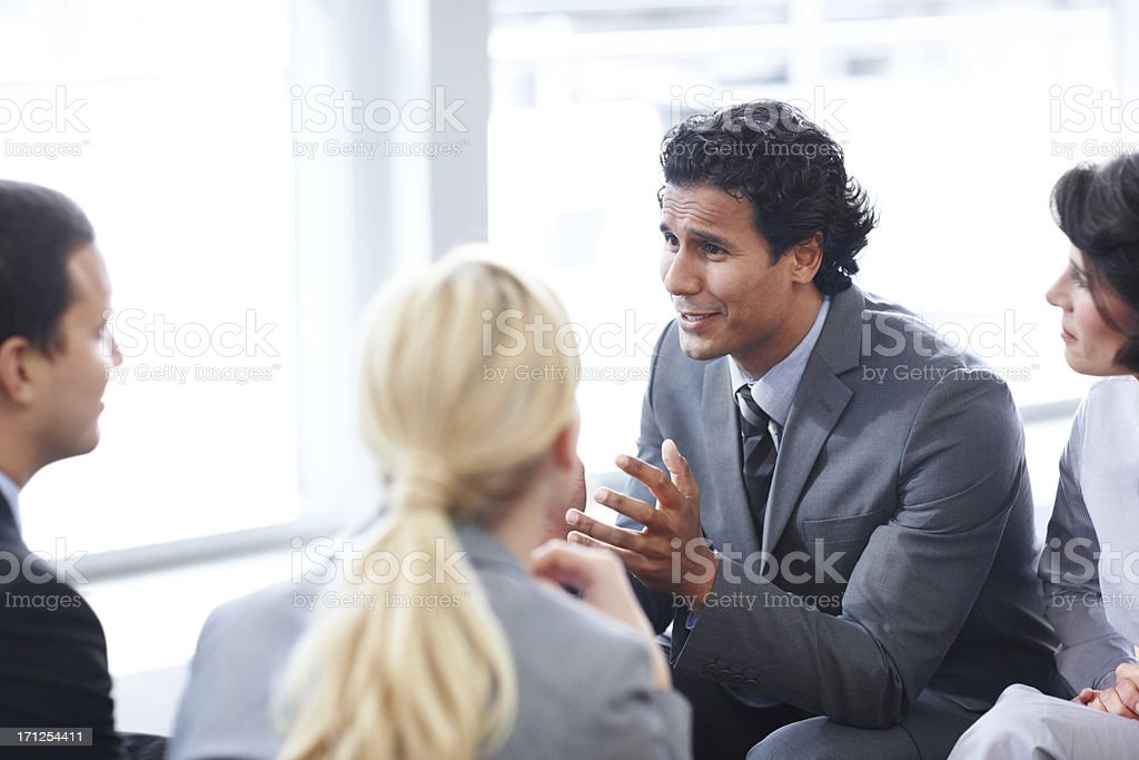 Discussing important office changes royalty-free stock photo