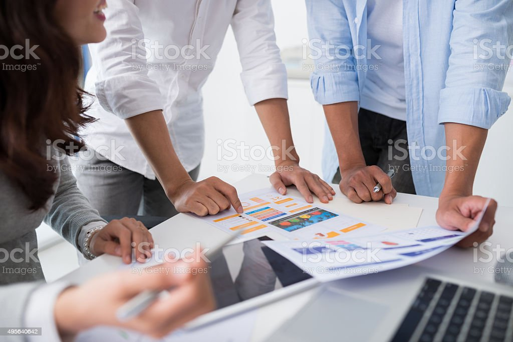 Discussing interface stock photo