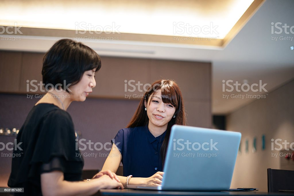 Discussing investment opportunities on peer to peer meeting stock photo