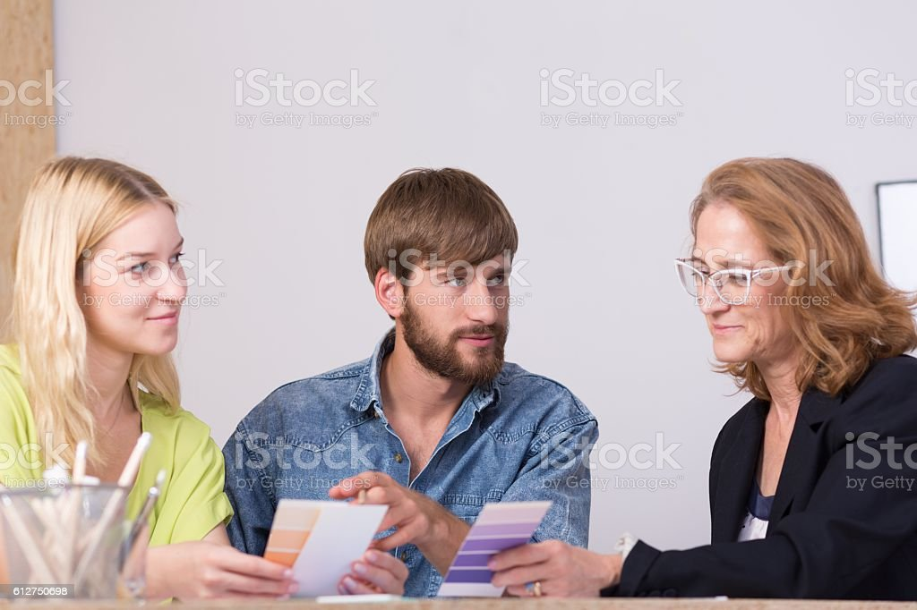 Discussing new ideas stock photo