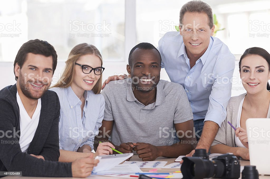 Discussing new project together. stock photo