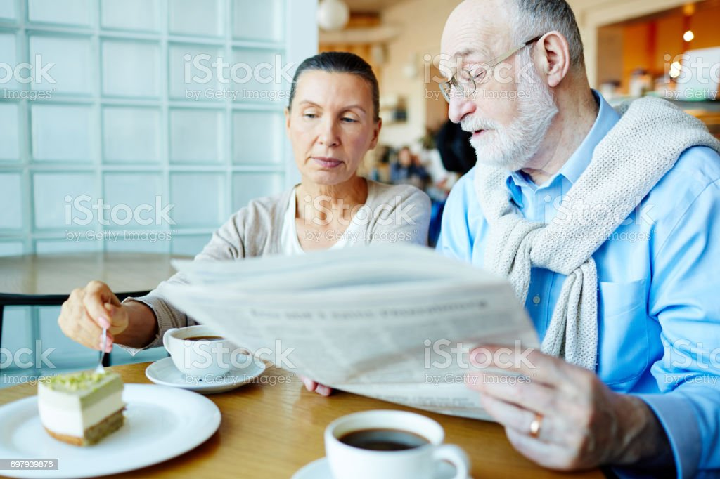 Discussing news stock photo