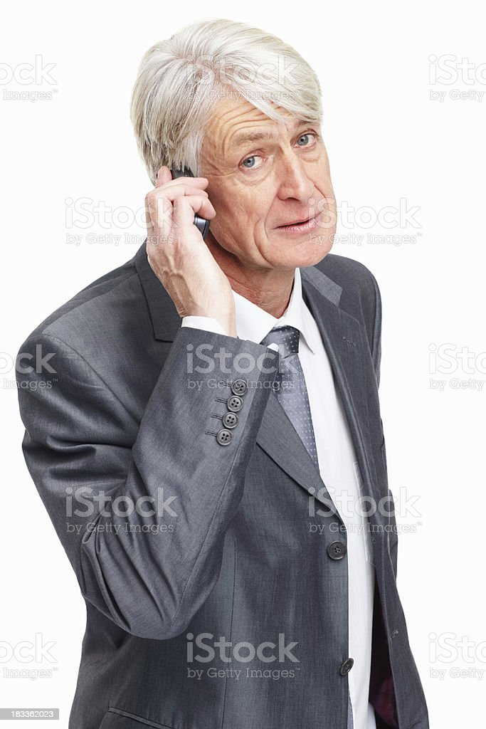 Discussing on cell phone royalty-free stock photo