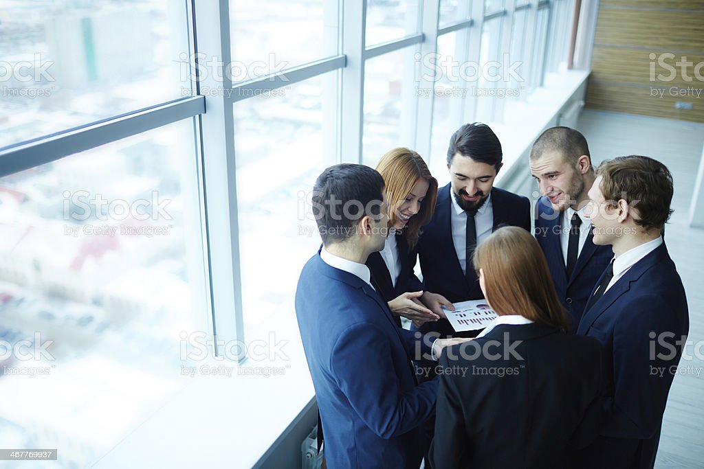 Discussing paper royalty-free stock photo