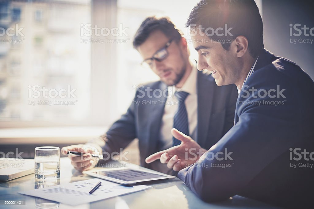 Discussing project royalty-free stock photo