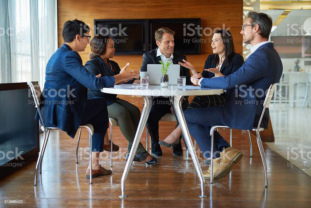 Discussing the best way forward stock photo